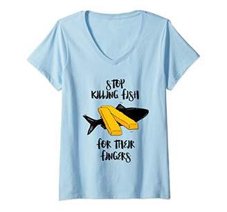 Womens Stop Killing Fish For Their Fingers funny design V-Neck T-Shirt