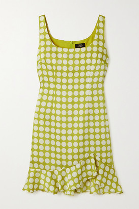 De La Vali Christabel Ruffled Polka-dot Recycled Twill Mini Dress