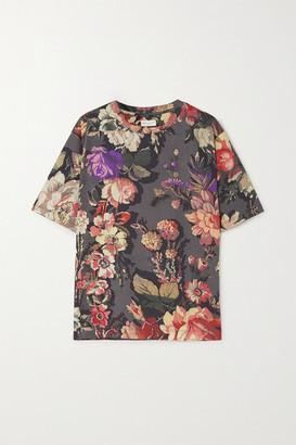 Dries Van Noten Floral-print Cotton-jersey T-shirt - Gray