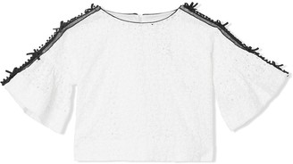 BURBERRY KIDS Lace Trim Embroidered Cotton Top