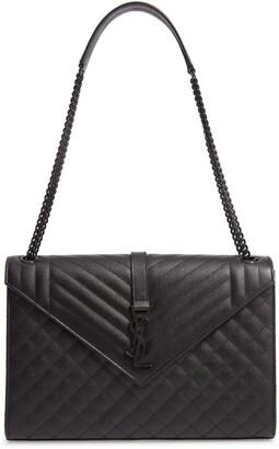 Saint Laurent Large Mono Calfskin Leather Shoulder Bag