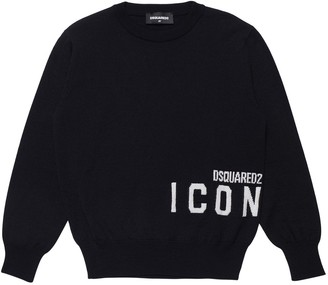 DSQUARED2 Icon Intarsia Wool Blend Knit Sweater