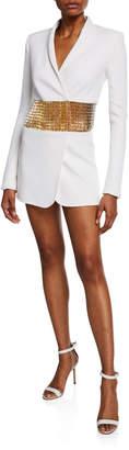 Azzaro Long-Sleeve Tuxedo Dress