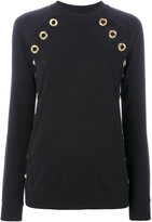 Balmain grommet-embellished sweatshirt - women - Cotton - 36