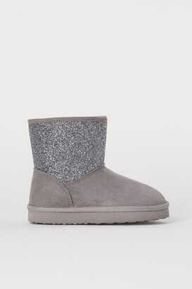 H&M Faux Fur-lined Boots - Gray