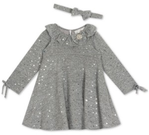 Rare Editions Baby Girls Long-Sleeve Foil Hacci Dress & Headband Set