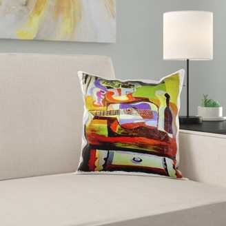 N. East Urban Home Picasso Painting Bowl of Fruit Guitar Pillow Cover East Urban Home