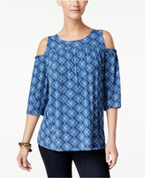 Style&Co. Style & Co Printed Cold-Shoulder Top, Only at Macy's
