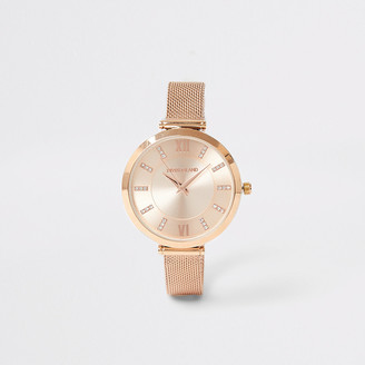 River Island Rose gold colour mesh strap RI watch