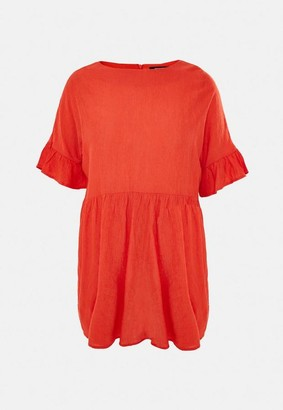 Missguided Plus Size Orange Textured Smock Dress
