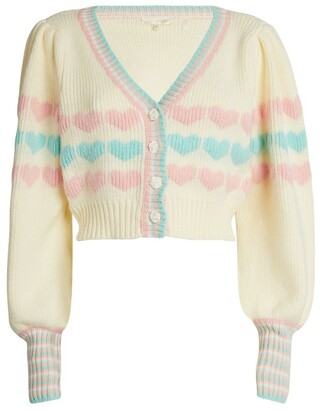 LoveShackFancy Buena Cropped Heart Cardigan