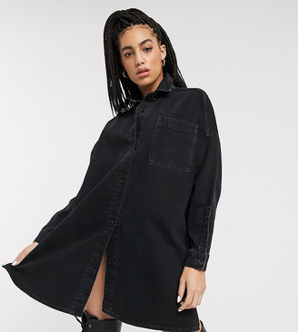 Collusion denim oversized shirtdress in black