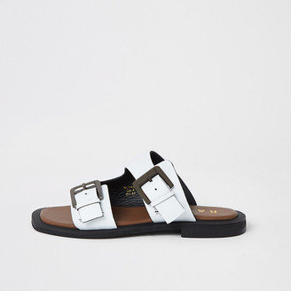 River Island Ravel white leather double buckle sandals