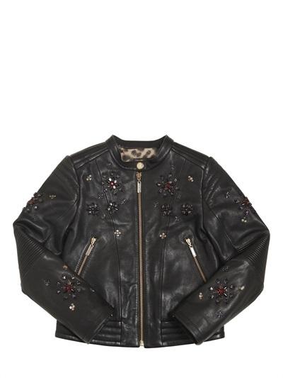 Roberto Cavalli Leather Biker Jacket With Rhinestones