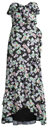 Aidan Mattox Floral Strapless Flounce Dress