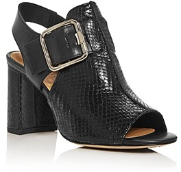 Donald J Pliner Women's Anette Snake-Embossed Slingback Block-Heel Sandals
