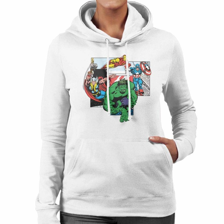 Thumbnail for your product : Marvel Avengers Comic Action Packed Panels Women's Hooded Sweatshirt White