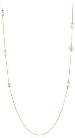 David Yurman Solari Long Pearl & Diamond Station Necklace, 36""