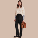 Burberry Cable Knit Cotton, Wool and Cashmere Blend Sculptural Sweater