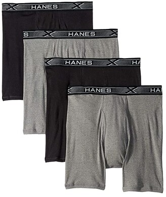 Hanes Platinum X-Temp Combed Cotton 4-Pack Boxer Briefs (Black/Grey) Men's Underwear