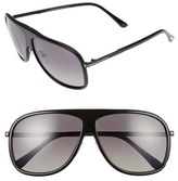 Tom Ford Men's 'Chris' 62Mm Polarized Sunglasses - Shiny Black/ Gradient Smoke