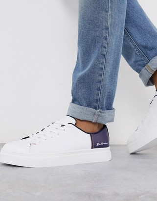 Ben Sherman color pop sneaker in white/navy