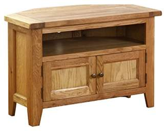 URBAN RESEARCH Hollyberry Home 90 Degree Corner TV Unit with 2 and 2 Shelves, Wood, Oak, 50 x 127 x 63 cm