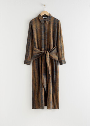 And other stories Croco Print Waist Tie Midi Dress