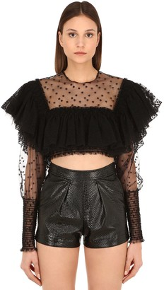 Philosophy di Lorenzo Serafini Ruffled Lace Crop Top