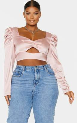 PrettyLittleThing Plus Blush Satin Bow Front Puff Sleeve Crop Top