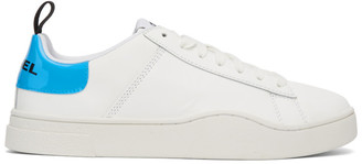 Diesel White and Blue S-Clever LS Low Sneakers