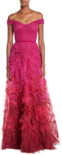 Marchesa Off-the-Shoulder Ombre Textured Gown