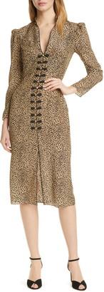 Saloni Andrea Cheetah Print Long Sleeve Silk Dress