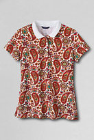 Classic Women's Petite Slim Fit Pique Polo Shirt-Ivory Print