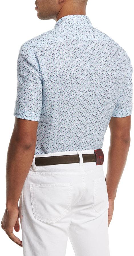 Isaia Micro-Leaves Short-Sleeve Sport Shirt, Blue/Green