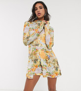 Reclaimed Vintage inspired long sleeve dress with high neck with cherub print