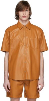Nanushka Orange Vegan Leather Short Sleeve Shirt