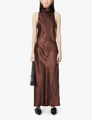 Vince Turtleneck satin maxi dress