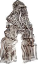 Animal-print silk-chiffon scarf