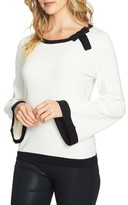 CeCe Women's Contrast Tipped Bell Sleeve Sweater