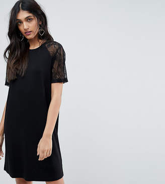 Asos Tall TALL T-Shirt Dress with Lace Raglan Sleeve-Black