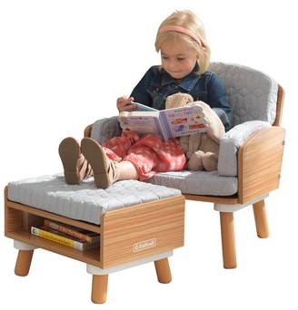 Kid Kraft Mid-Century Kid Reading Chair & Ottoman