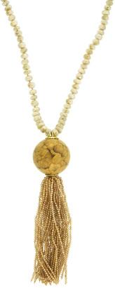 Silvia Furmanovich 18k Sapphire Marquetry Gingko Tassel Necklace