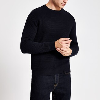 River Island Mens Navy slim fit knitted crew neck jumper