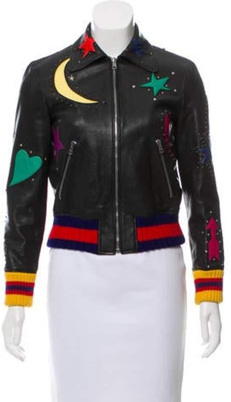 87c41ba4f Intarsia Leather Bomber Jacket Black Intarsia Leather Bomber Jacket