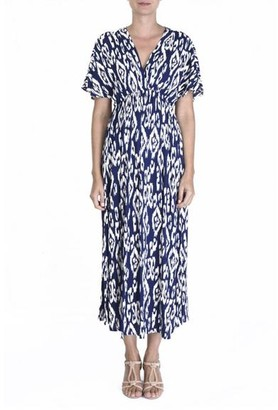 The Aloft Shop - Maxi Length Navy Print Summer Dress - One Size