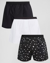 Asos Woven Boxers With Monochrome Star Print 3 Pack Save