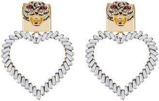 Venna Crystal Embellished Detachable Heart Charm Tiger Stud Earrings