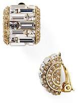 Carolee Crystal Baguette Huggie Clip On Earrings