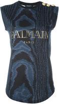 Balmain sleeveless logo T-shirt - women - Cotton - 34